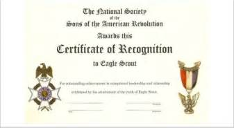 Eagle Scout Certificate Template by Sons Of The American Revolution Delta Chapter