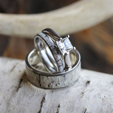 antler wedding ring deer antler wedding ring set his and hers matching