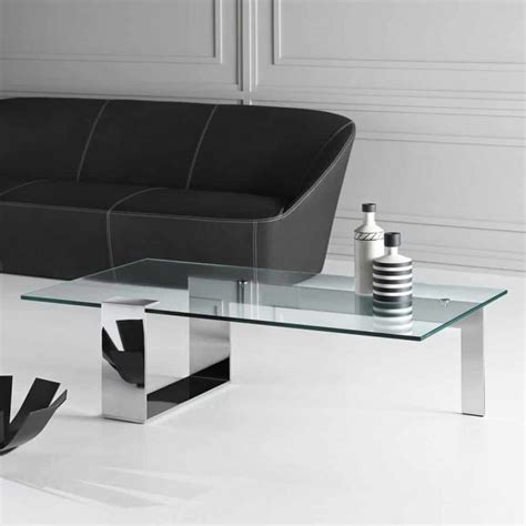 furniture beautiful glass and chrome farniente rectangular glass and metal coffee table by tonelli klarity glass furniture