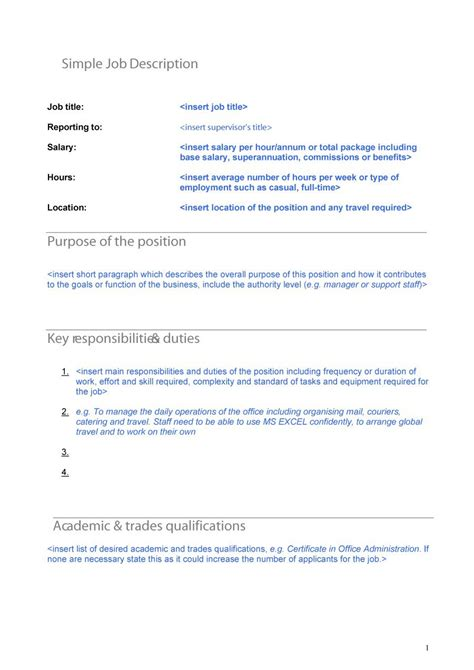 sample job description template 22 free documents