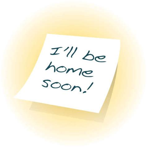 stock illustration i ll be home soon written on adhesive