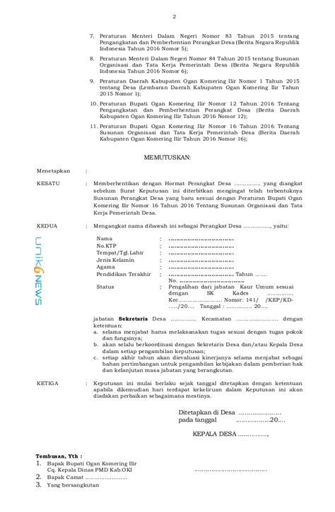 Surat Permohonan Menjadi Perangkat Desa - Guru Paud