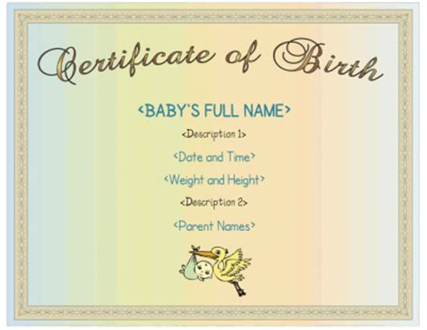 boy birth certificate template printable birth certificate for boys with a blue color