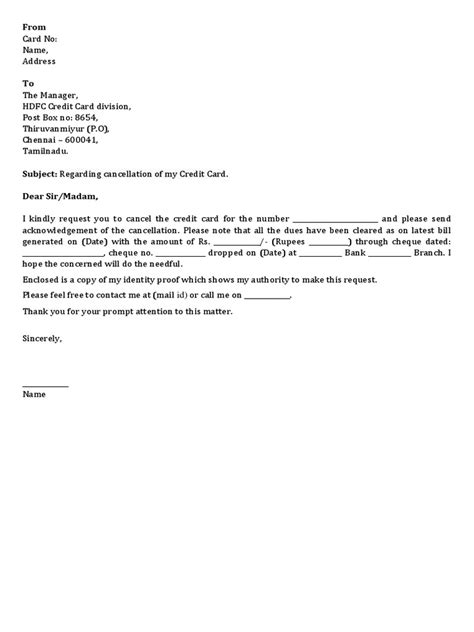cancellation letter for credit cards hdfc credit card cancellation letter docshare tips