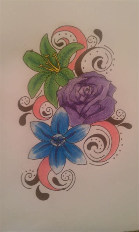 april birth flower tattoo may june and december birth flowers done in colors