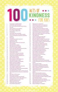 100 acts of kindness for kids free printable in post