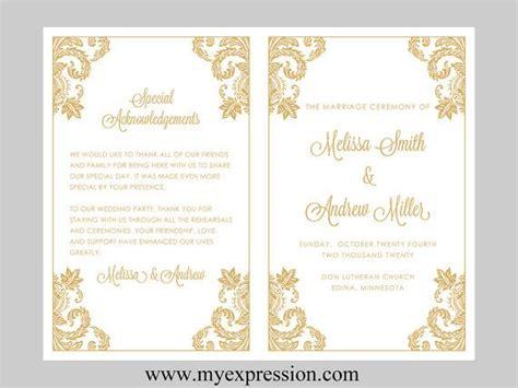 wedding program template gold damask instant download