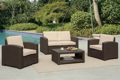 pensacola tan 4 pc outdoor living room set living room sets brown 4pc outdoor set 434 online furniture broker