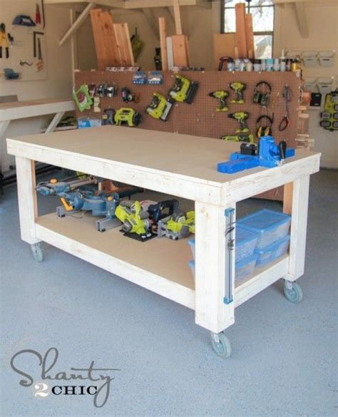 rolling work bench plans garage workbench for the and diy workbench on pinterest