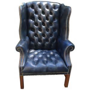 navy blue wingback chairs fabulous navy blue leather tufted wing chair at 1stdibs