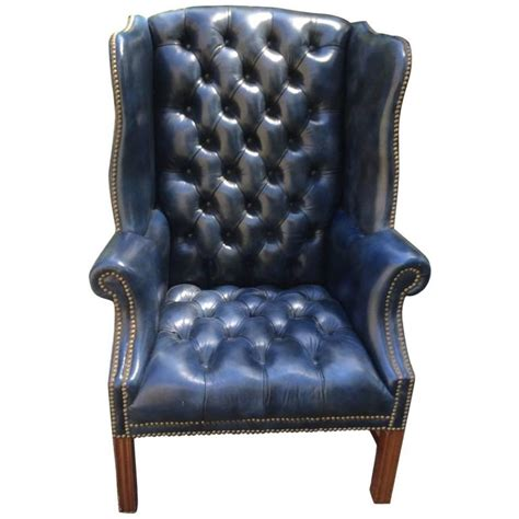 Navy Tufted Chair by Fabulous Navy Blue Leather Tufted Wing Chair At 1stdibs