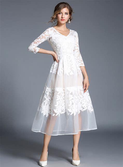 3 4 Sleeve Lace A Line Midi Dress s floral mesh v neck 3 4 sleeve a line midi dress