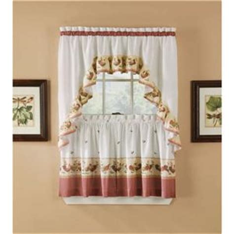 rooster curtains for kitchen 3 pc country rooster kitchen curtains tier and swag set rooster curtains ebay