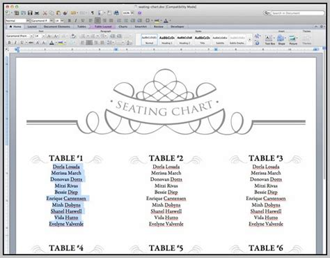 Microsoft Seating Chart Template by Wedding Seating Chart Template Word Brokeasshome
