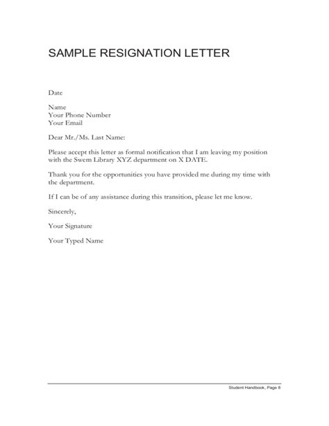 Power Of Attorney Resignation Letter Sle Sle Resignation Letter Free