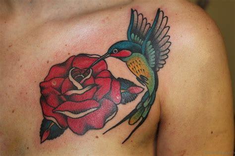 hummingbird rose tattoo 85 mind blowing tattoos on chest