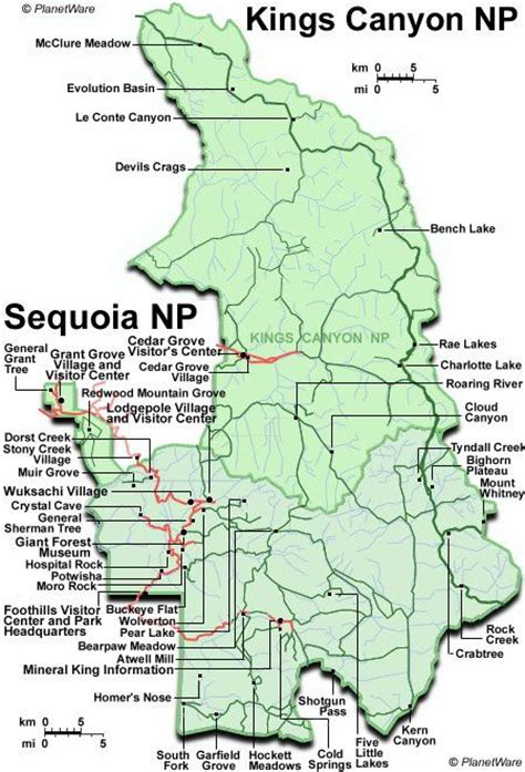 california map sequoia national park map of crescent meadow sequoia national park ca