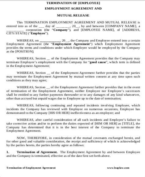 sample contract termination agreement  examples  word  google docs apple pages