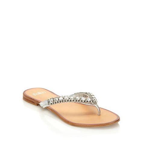 Faith Jarb Flip Flops by Faith Silver Diamante Flip Flops Designer Sandals
