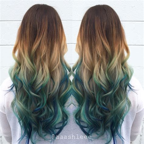 brown hair with blonde and blue highlights ombre teal blue rainbow hair hair by aaashleee