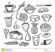 Food Objects Doodles Collection Vector Illustration