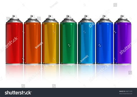 spray paint rainbow set of rainbow paint spray cans isolated on white