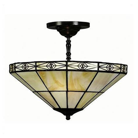 Mission Style Ceiling Light 12 Quot Tiffany Style Geometric Mission Ceiling Fixture