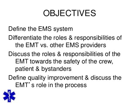 Responsibilities Of A Emt by Emt Emr Introduction To Ems Research Powerpoint Module