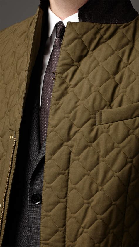 Mens Quilted Wax Jacket by Burberry Waxed Cotton Quilted Jacket In Green For Lyst