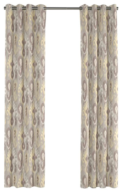 yellow ikat curtains pastel yellow and gray ikat grommet curtain