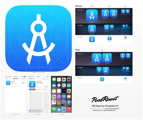 app template app icon template that utilizes photoshop smart objects to