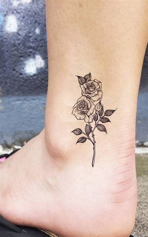 small vintage roses ankle ideas for beautiful realistic flower delicate leg tat