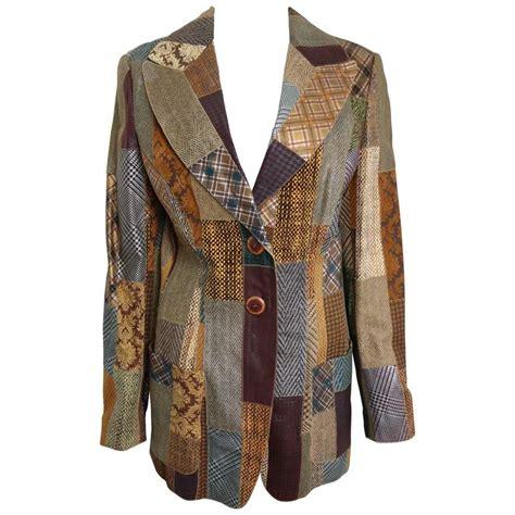 Patchwork Blazer - roberto cavalli leather multi patterns patchwork blazer