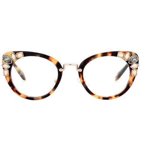 miu miu embellished cat eye glasses in brown lyst