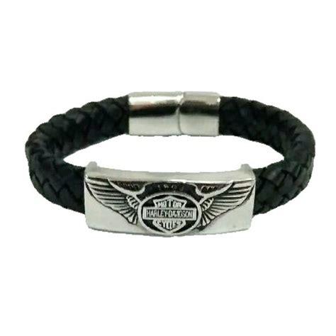 Skull Real Leather Bracelet Gelang Pria Kulit Asli Blue G jual gelang pria kulit asli harley davidson hd titanium di
