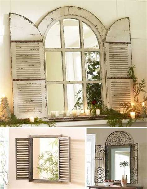 Shutters For Inside Windows Decorating Vintage Window Shutter Decor Wooden And Metal Window Mirrors Wooden Mirrors Frames With