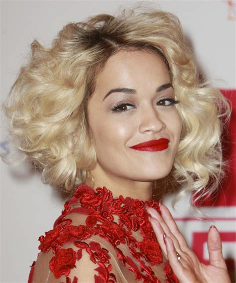 rita ora choppy hairstyles rita ora short curly formal hairstyle light blonde