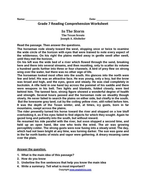 Reading Comprehension 7th Grade Free Worksheets by 25 Best Reading Worksheets Ideas On Simple