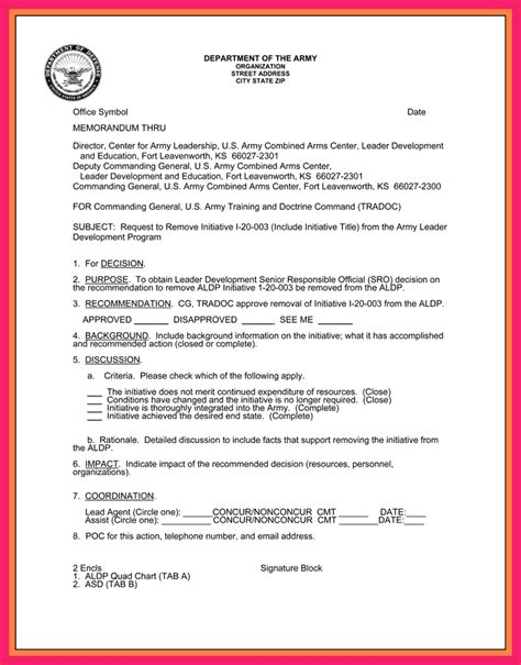 Endorsement Letter Army Memorandum For Record Army Bio Letter Format