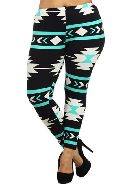 teal patterned leggings plus size aztec print teal leggings plussizefix