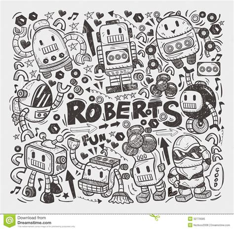 doodle line drawings doodle robot element royalty free stock photo image