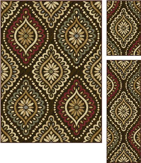 3 pc rug sets tayse rugs laguna modesto brown 3 set
