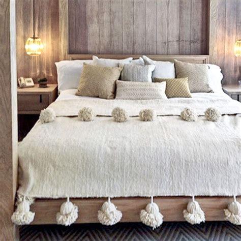 moroccan pom pom blankets   home   bedroom