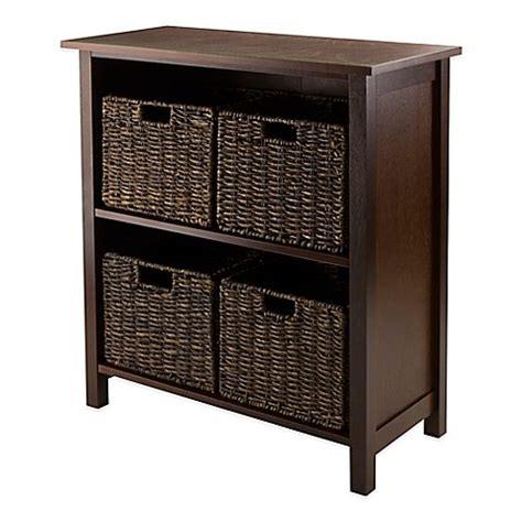winsome trading granville 2 tier storage shelf with 4