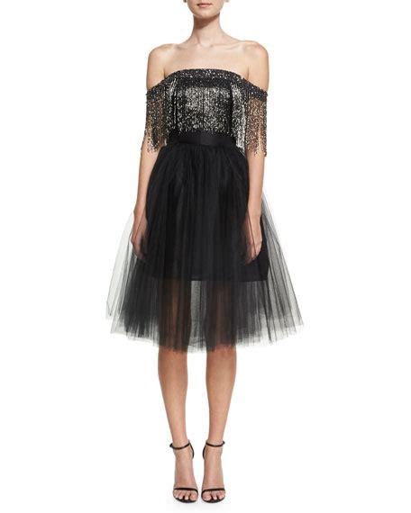 Moniq Dress Black lhuillier the shoulder metallic fringe