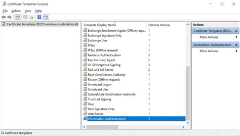 workstation authentication certificate template how can i configure pki in a lab on windows server 2016
