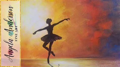 ballerina silhouette impressionist acrylic painting