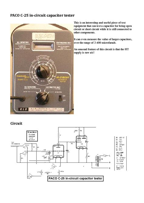 capacitor tester circuit paco c 25 in circuit 2 400uf capacitor tester sm service manual free schematics