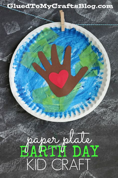 Earth Day Paper Crafts - paper plate earth day kid craft glued to my crafts