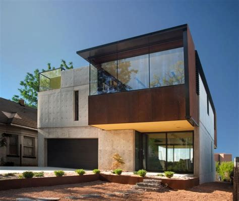 textured front facade modern box home oklahoma case study house from facade and box shape wall